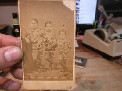 Antique Old CABINET PHOTO Picture CDV Card New York Dancer Boys Circus Freaks ?
