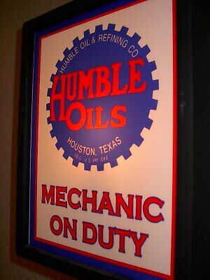 Humble OldLogo Oil Gas Station Garage Mechanic Man Cave Lighted Advertising Sign