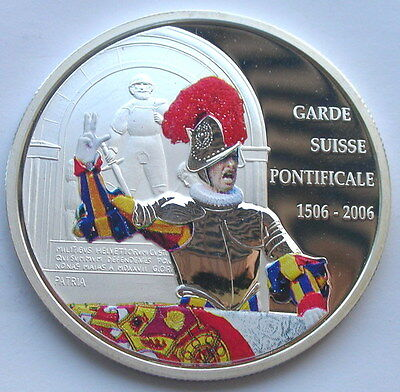 Congo 2006 Pontifical Swiss Guard 10 Francs Silver Coin,Proof