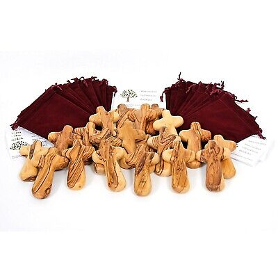 25 Olive Wood Caring /Holding Crosses with Gift Bags