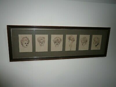 Antique Portraits Of 6 Ink Drawings Signed A Reeses?