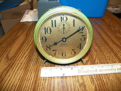 "Vintage WESTCLOX ""BIG BEN DE LUXE"" Alarm Clock w Green Case - AS IS"