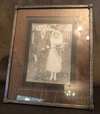 Vintage ARCO Arts & Crafts Hammered Copper metal picture frame glass