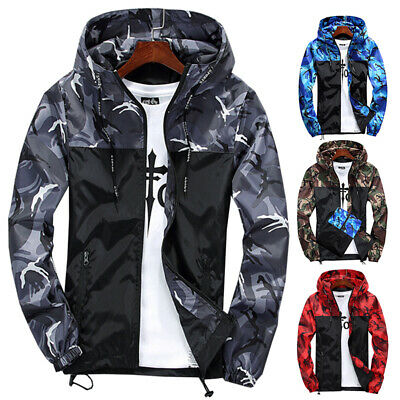 Men Jackets Windproof Hooded Camouflage Coat Zipper Soft Shell Tops Hoodie Thin