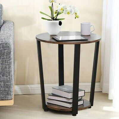 Small Round End Table Chairside Shelf Storage Side Sofa