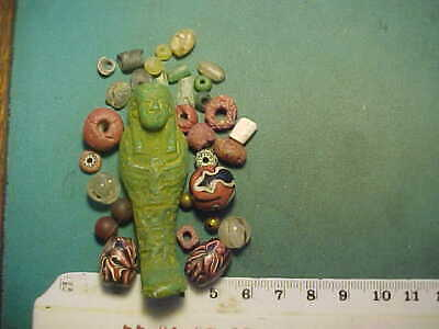 30+ Ancient beads circa 1000 BC- 1700 AD +  an Egyptian faience Ushabti