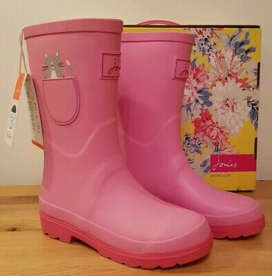 BNIB Girls JOULES Wellington Boot PINK Size 2 UK Welly CAT MOUSE Pocket Design