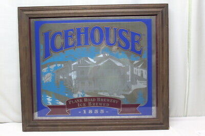 """Icehouse Plank Road Brewery Ice Brewed 1855 Mirror Beer Sign 28""""x 34"""""""