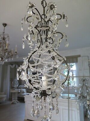 Rare Antique Italian Beaded Birdcage Chandelier Crystal Lamp
