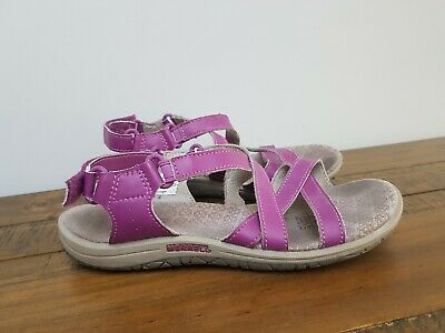Girls Ladies Merrell Comfort Leather Walking Hilking Sandal Purple - Size 4
