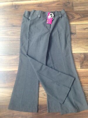 New Tags - Girls Grey School Bootleg Trousers x 2 Pack- 10 years TU Adjust Waist