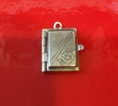 Sterling Silver Charm Book Diary Etched Heart & Flower Opens with Page
