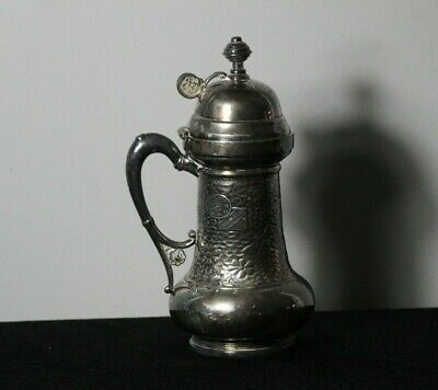 Antique 19thC Victorian Silver Plate Aesthetic Reptiles Insects Hammered Pitcher