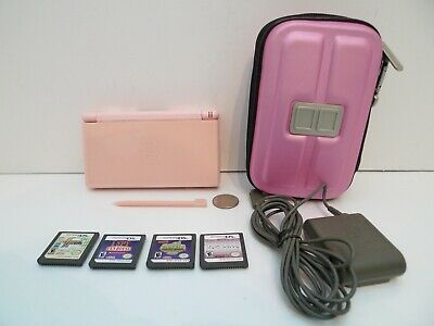 Nintendo DS Lite Console Bundle Pink w/ Stylus Charger Case & 4 Games !!!