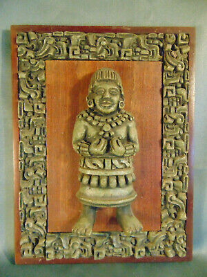 Tiki primitive hand crafted Mayan figure wall hanging male figure cultural art