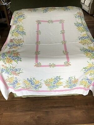 """Vintage Tablecloth Pink, Blue,yellow Flowers,white Pink Border 53""""x  60"""",unbrand"""