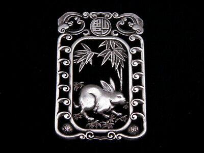 Tibetan Silver Highly Detail Crafted Pendant Zodiac Rabbit w/ Bats Blessing FU