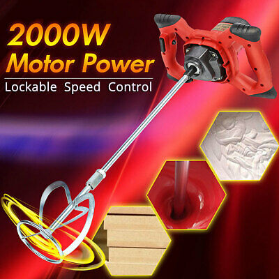 2000W Electric Handheld Mixer Stirrer Single Paddle Plaster Paint Cement