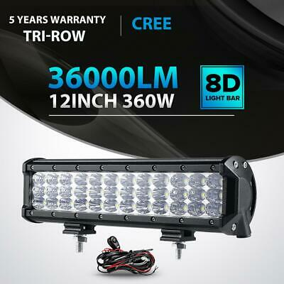 Tri-Row 360W 12Inch Led Light Bar Spot Flood Offroad 4WD Truck Boat UTE ATV 14