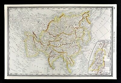 1892 Rand McNally Map Asia China Japan India Palestine Arabia Turkey Siberia