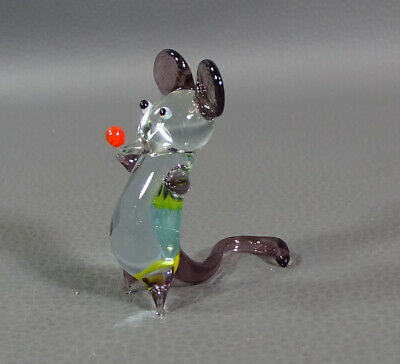 Vtg Italian Murano Blown Light Amethyst&Clear Glass Mouse Animal Figurine 2 1/8""