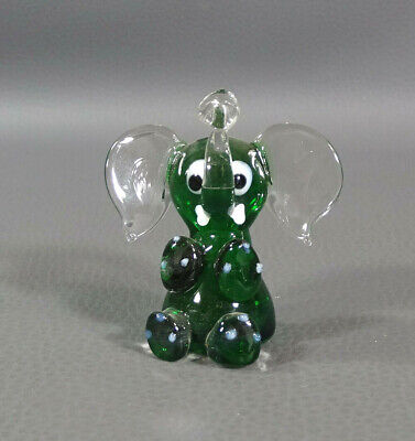 Vtg Italian Murano Art Hand Blown Glass Trunk Up Elephant Animal Figurine Figure