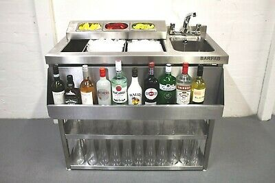 1 metre stainless steel cocktail bar unit with insulated ice well and bar sink