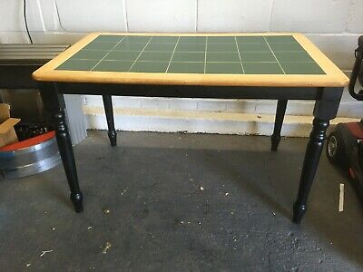 Vintage Retro Solid Wooden Dining Kitchen Table Green Tile Top Detachable Legs