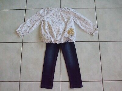 Ensemble Fille Jeans Lisa Rose Et Tunique Blanc Lulu Castagnette 2 Ans  Tbe