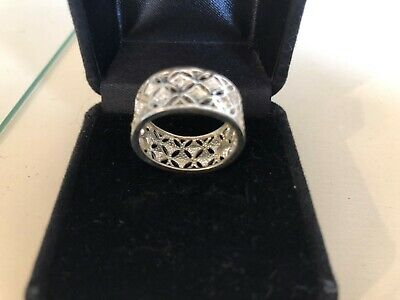 Ladies Sterling Silver Pierced 9 cm Wide Band Ring Size 8