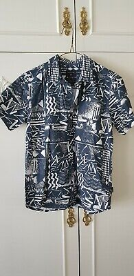 Quicksilver Boys Size 12 Shirt Blue And White Pattern