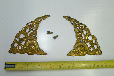 Antique Period PAIR ARCH CLOCK SPANDRELS Cast Yellow Brass Longcase & screws