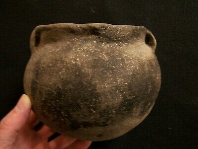 Nice Authentic Mississippian Strap Handled Pottery Vessel From Se Missouri