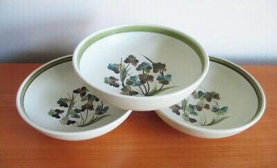 "Denby Shamrock 3 Cereal Soup Bowls 6 3/4"" Green Brown Clover 1960s England"