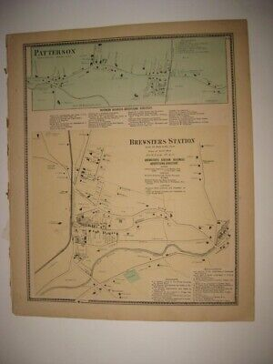 Antique 1867 Patterson Brewster Putnam County New York Handcolored Map Superb Nr