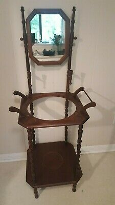 Vintage Basin Wash Stand, Wooden Wash Stand, Nice Details, Overall Good Cond.
