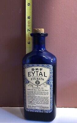 Early 1900's Antique Labeled Cobalt Blue Glass Bottle EYTAL Eye Wash Medicine