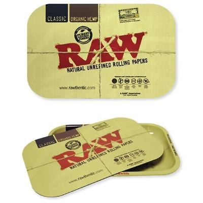 "New! RAW Rolling Papers 11""x7"" Cigarette Metal Rolling Tray with Magnetic Cover"
