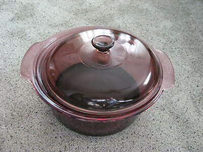 Corning Ware Visions Pyrex Cranberry Dutch Oven 4.5 L Glass Stock Pot Cookware