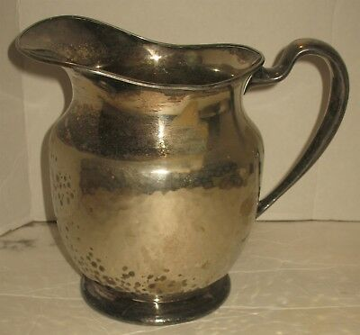 Vintage W.M. Mounts Silverplate Hammered Water Tea Pitcher Decorative Distressed