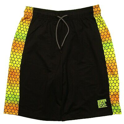 Superdry Sport Men/'s Black//Hex Ombre Training Relaxed Mesh Shorts