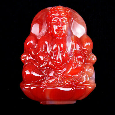 Top Quality Agate Hand Carved LARGE Pendant Buddha Holds Water Bottle #01111708