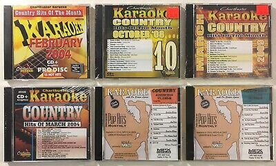 Chartbuster Karaoke / Pop Hits Monthly Country Hits Lot of 6 CD+G - 78 Songs NEW