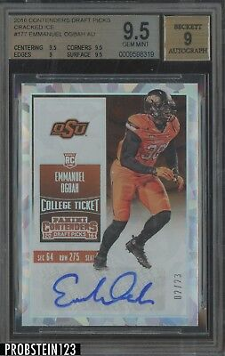 2016 Contenders College Ticket Cracked Hielo Emmanuel Ogbah RC Auto 2/23 BGS