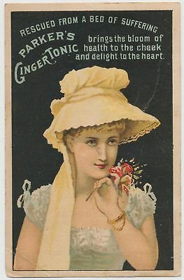 Rescued from a Bed of Suffering! Parker's Ginger Tonic - Victorian Trade Card