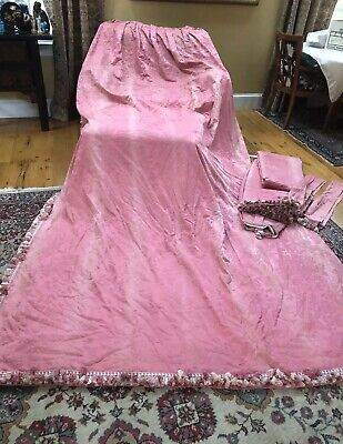 "Pair damask curtains French c1900 old drapes Panels Pink textiles 132"" x 36"""