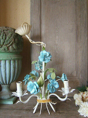 Mid-Century Italian Tole Metal Blue Floral Pansy 3 Light Swag Chandelier