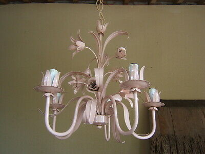 Mid-Century Italian Tole Metal Pink Floral Roses Daisies Lily 5 Light Chandelier
