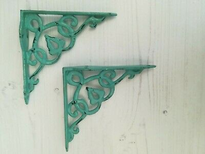 "Blue Cast Iron Shelf Brackets PAIR of Small Shabby  6""x 5""  Antique Look"