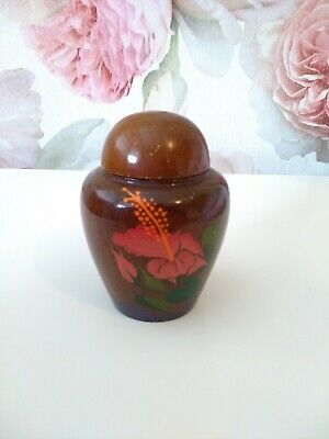 Vintage Wooden Jar with Hand Painted flowers made in Dominican Republic